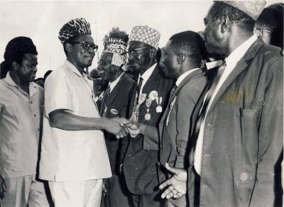 Joseph Mobutu and E. Tshisekedi at Mbuyi-Mayi the 3rd of March 1967