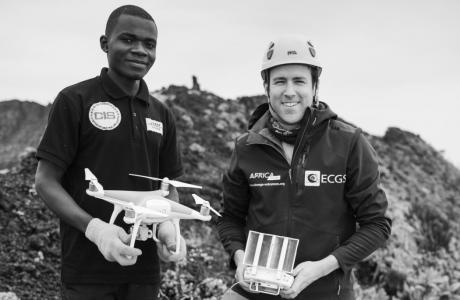 Fidèle Amani and Benoît Smets use a drone to study the Nyaragongo volcano in the DR Congo.